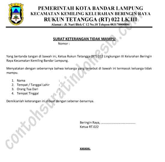 Contoh Surat Keterangan Tidak Mampu dari Ketua RT