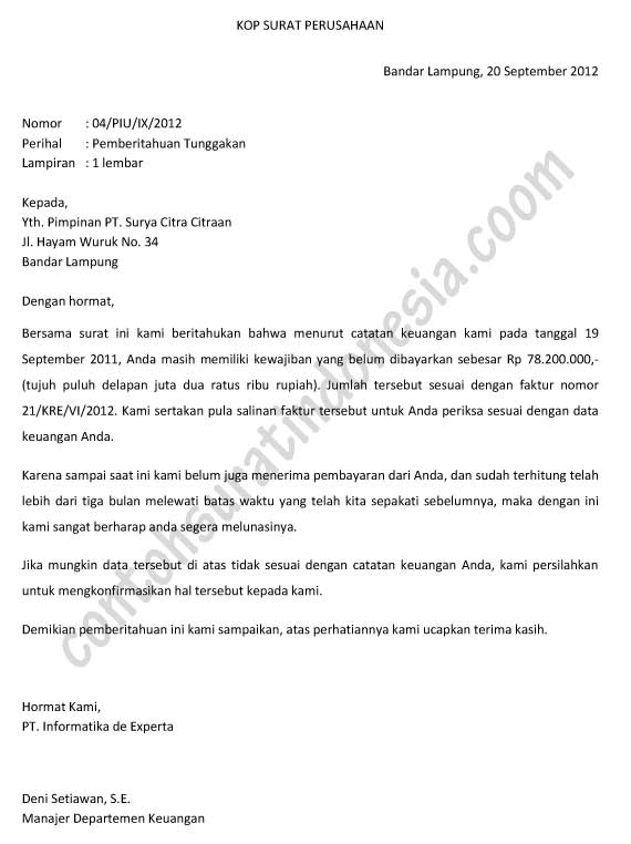 Download Contoh Surat Penagihan Hutang / Pemberitahuan Tunggakan ...