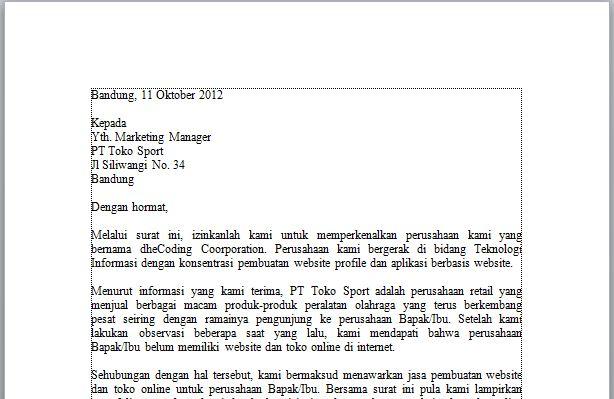 Contoh Surat Penawaran Jasa Pembuatan Website dan Toko Online