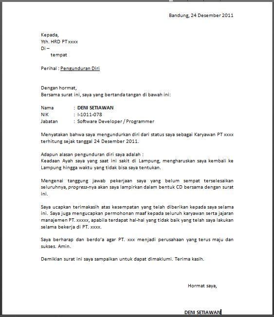 Contoh Surat Pengunduran Diri dari Perusahaan (resign)