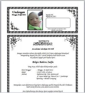 Contoh Undangan Aqiqah Bayi