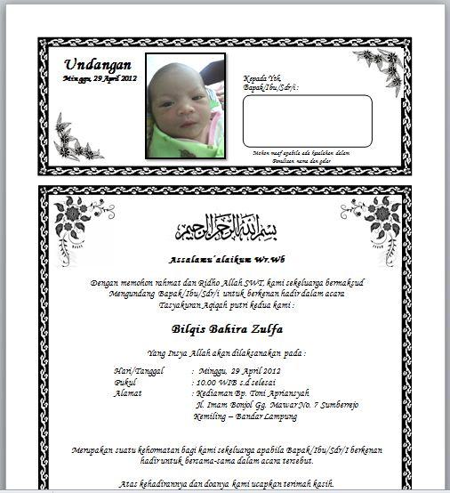 Contoh Surat Undangan Aqiqah Tasyakuran Kelahiran Bayi506