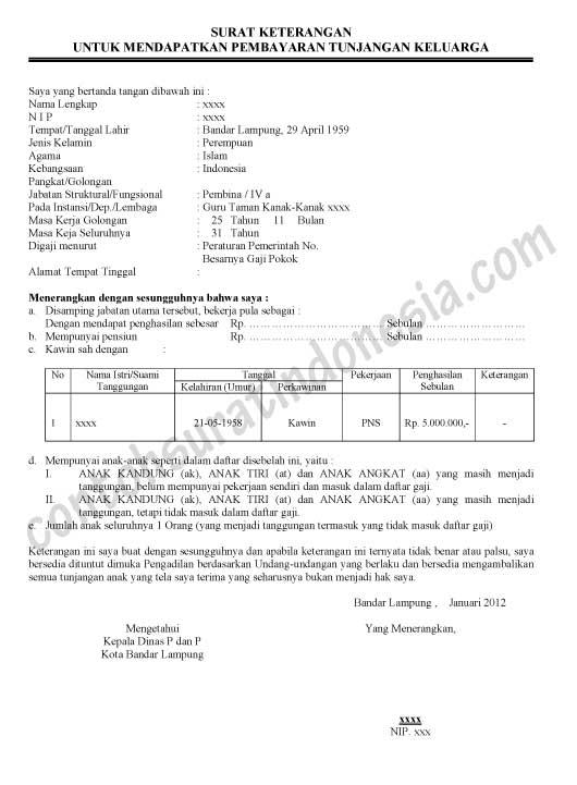 Surat Keterangan Untuk Mendapatkan Tunjangan Keluarga (PNS)