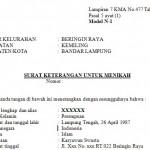 Contoh Surat Keterangan Untuk Menikah dari Kelurahan