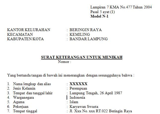 Download Contoh Surat Keterangan