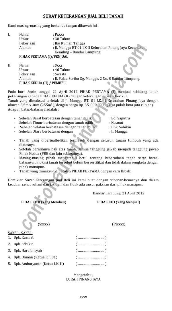 contoh surat keterangan jual beli tanah october 12 2012 contoh surat