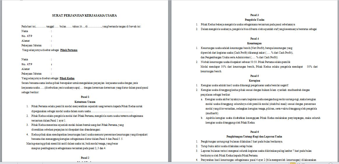Contoh Surat Perjanjian Kerjasama Investasi Modal Usaha
