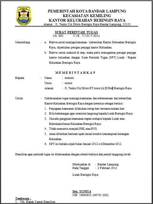 Contoh Surat Perintah Tugas (SPT) untuk menjaga keamanan