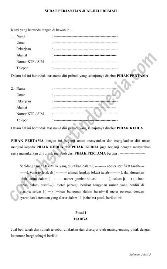 Contoh Surat Perjanjian Jual Beli Rumah secara Tunai