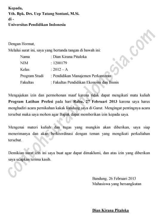 Contoh Surat Izin Tidak Masuk Kuliah karena Acara Keluarga