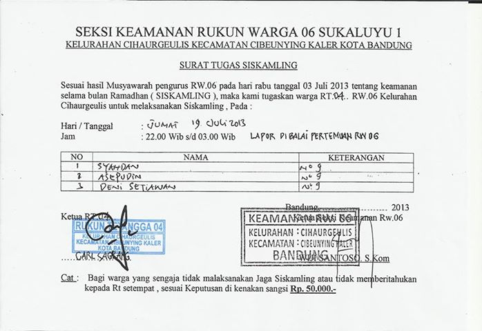 Contoh Surat Perintah Tugas Siskamling