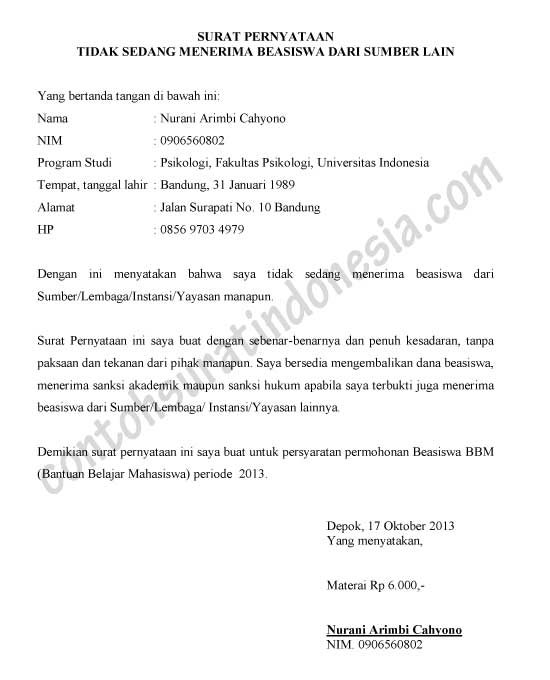 Contoh Surat Pernyataan tidak Menerima Beasiswa dari Pihak Lain