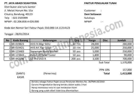 Contoh Faktur Pembelian Tunai Feed News Indonesia