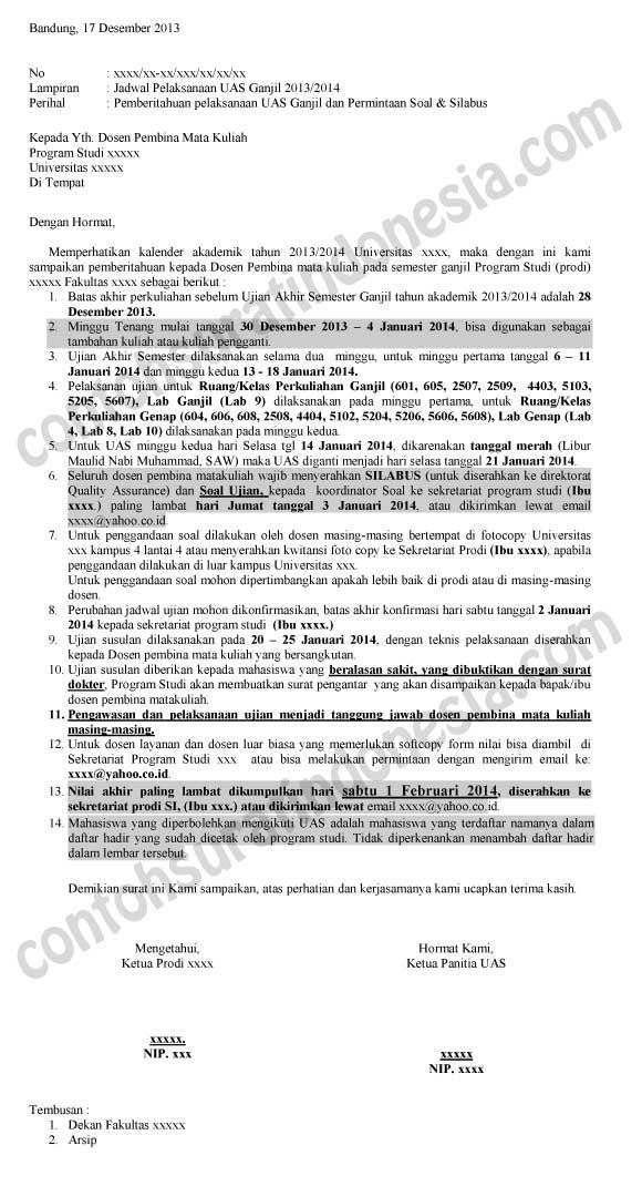 Contoh Surat Pemberitahuan Pelaksanaan Ujian Akhir Semester