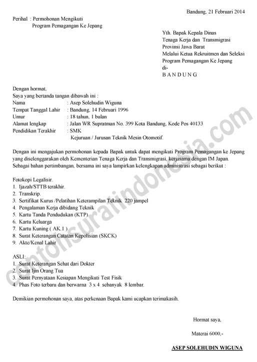 Surat Lamaran Progam Pemagangan ke jepang Disnakertrans
