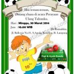Contoh Undangan Ulang Tahun Anak Laki-laki tema Sepak Bola