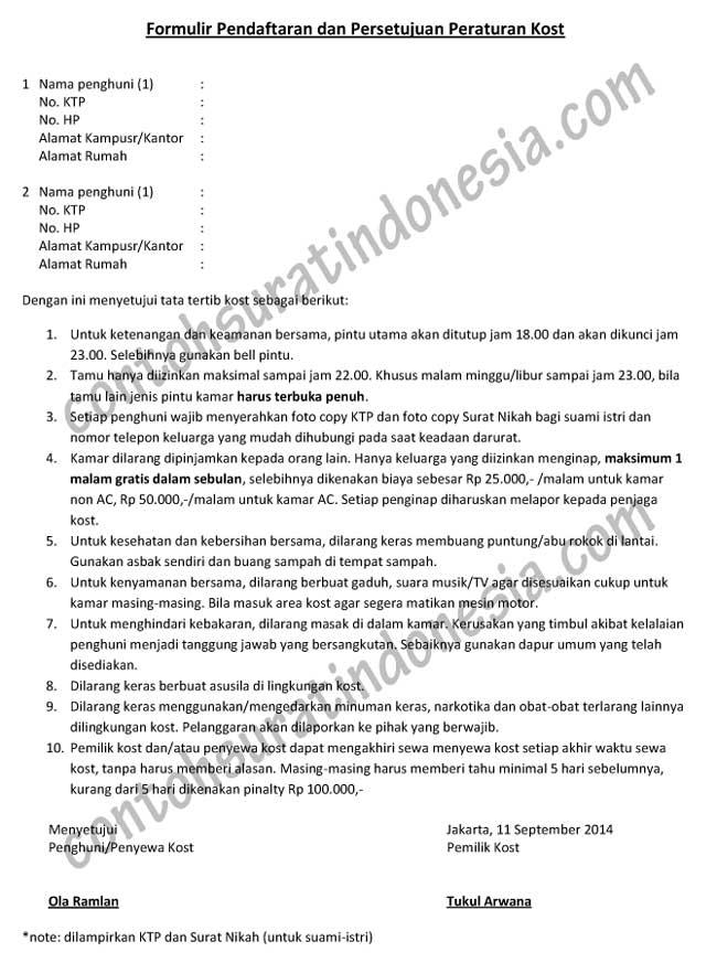 Contoh Formulir Pendaftaran Dan Persetujuan Peraturan Kost