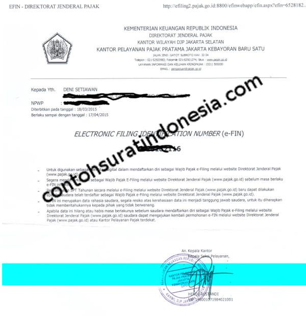 Contoh Surat EFIN Pajak untuk pendaftaran Efilling SPT Online