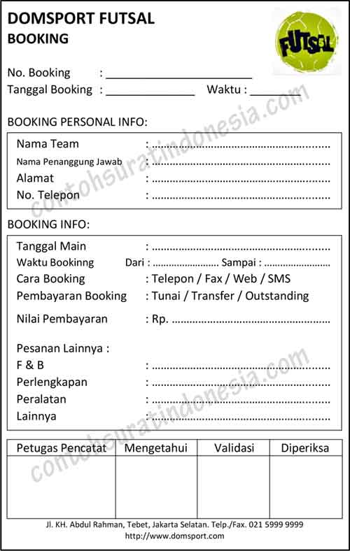 Contoh Nota Booking Lapangan Futsal untuk Pemesanan