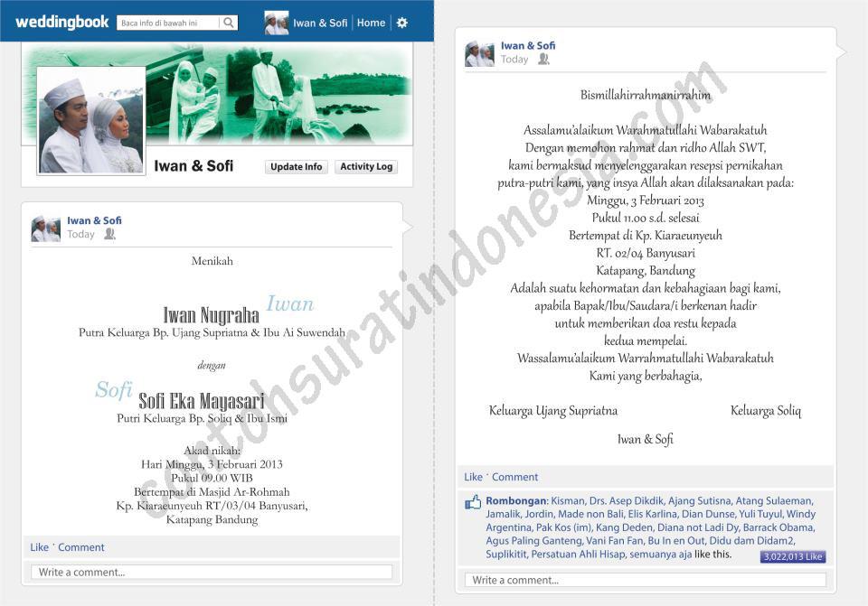 contoh undangan pernikahaan unik tema facebook