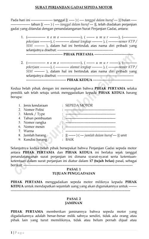 Contoh Surat Perjanjian Gadai Sepeda Motor Lengkap