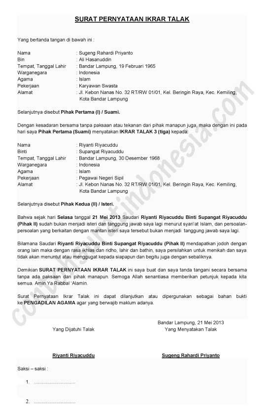 Contoh Surat Talak 1/2/3, Ikrar Talak dari Suami kepada Istri