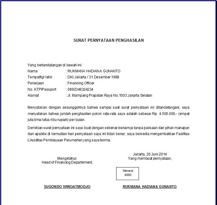 Contoh Surat Pernyataan Penghasilan Format E1 Untuk KPR
