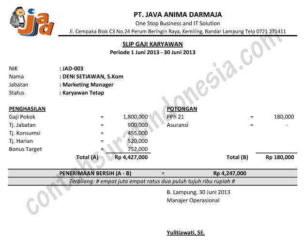 contoh slip gaji karyawan swasta resmi format ms excel
