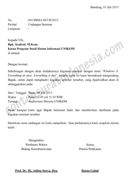 Contoh Surat Undangan Seminar versi Ms. Word Document