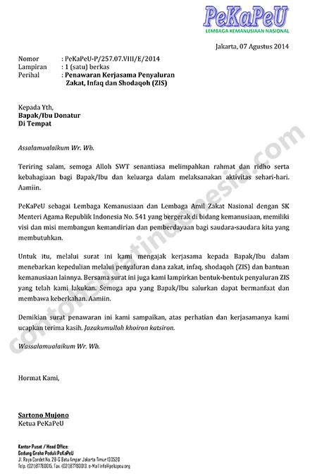 Contoh Surat Penawaran Kerjasama Penyaluran Zakat Infaq dan Shodaqoh