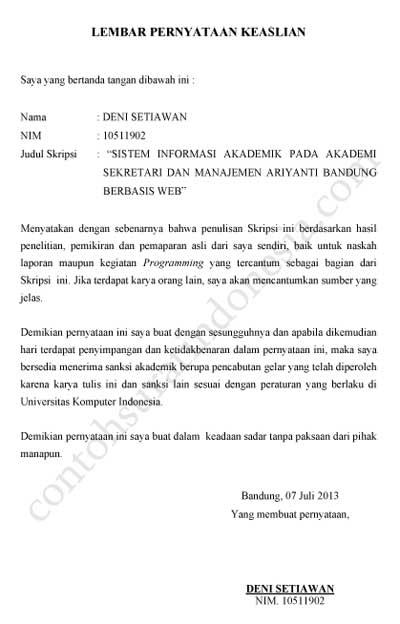 Contoh Surat Pernyataan Keaslian Skripsi / Tugas Akhir