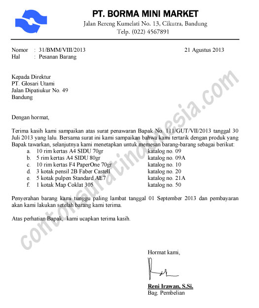 Contoh Surat Pesanan Barang (balasan penawaran)