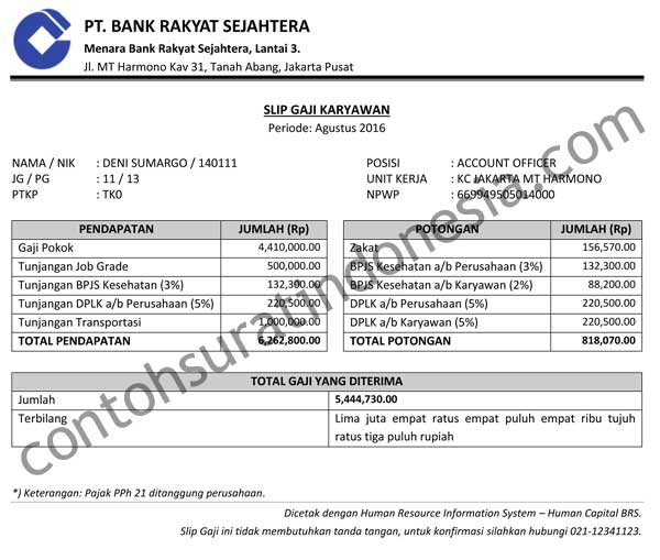Keterangan Field/Kolom pada Slip Gaji Karyawan Bank