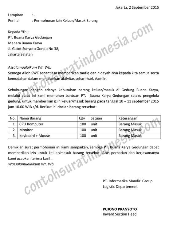 Surat Permohonan Contoh Surat Indonesia