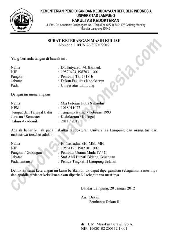 Contoh Surat Keterangan Kuliah dari Dekan Fakultas atau BAAK
