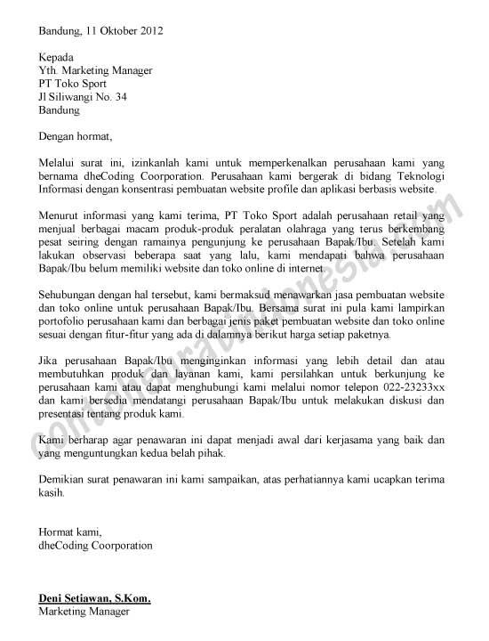 Contoh Surat Permintaan Penawaran Barang Alat Tulis Kantor