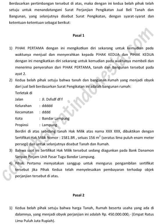 Contoh Surat Perjanjian Pengikatan Jual Beli Rumah Sppjb