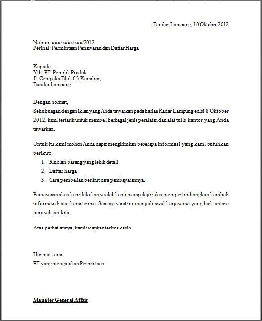 Contoh Surat Permintaan Penawaran Barang