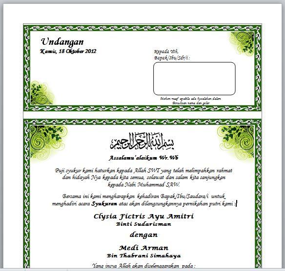 Contoh Surat Undangan Syukuran Pernikahan di rumah