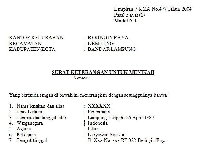 Surat Keterangan untuk menikah