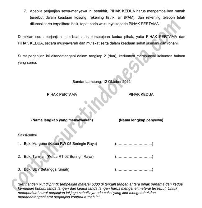 Contoh Surat Perjanjian Kontrak Rumah Atau Sewa Rumah