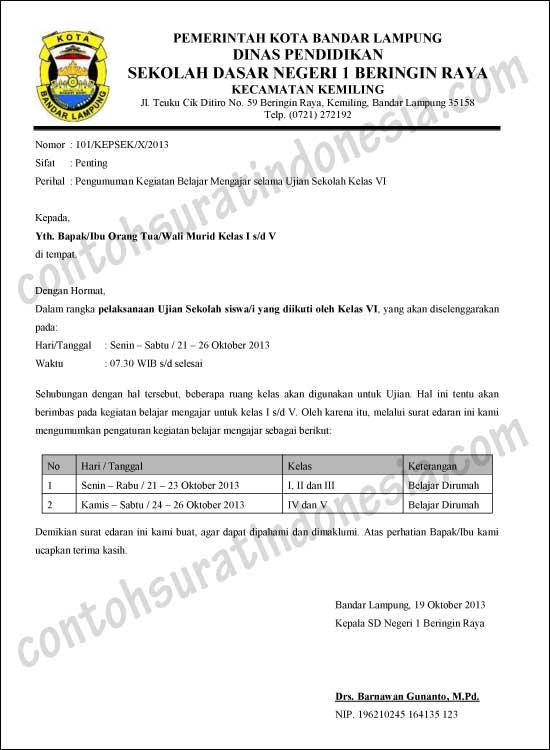 Contoh Surat Edaran Sekolah, Pengumuman Libur karena Ujian