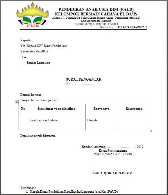 Contoh Surat Pengantar Laporan Bulanan PAUD  Surat Pengantar