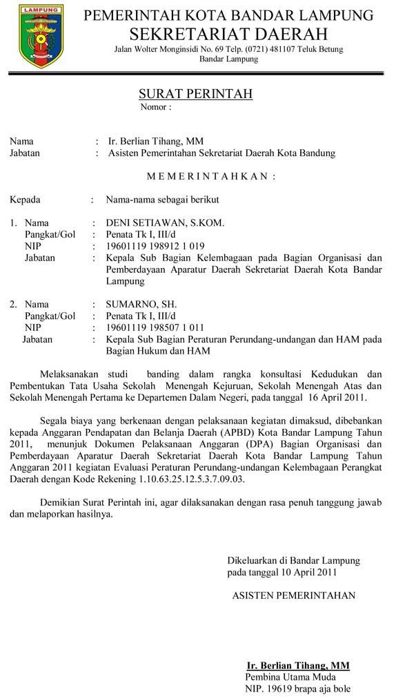 contoh surat perintah resmi sekda kota bandar lampung