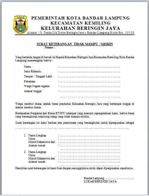 Contoh Surat Keterangan Tidak Mampu dari kelurahan