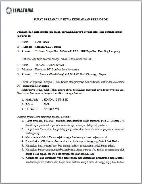 Contoh Surat Perjanjian Sewa Kendaraan Bermotor