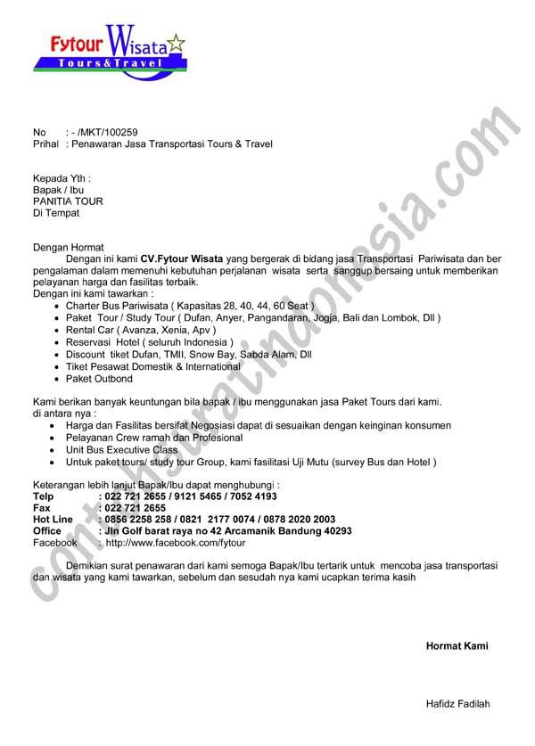 Contoh Surat Penawaran Jasa Transportasi Tours dan Travel