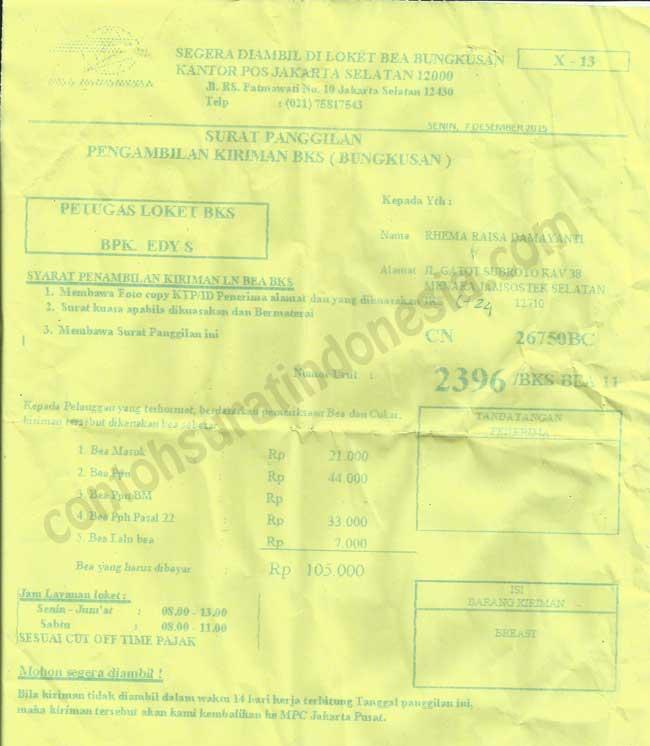 Surat Panggilan Pengambilan Kiriman BKS (Bungkusan) dari kantor pos