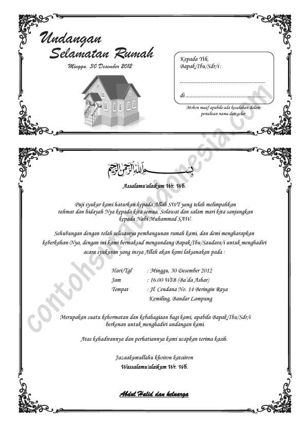 Contoh Surat Undangan Syukuran Rumah Baru, format Word A4