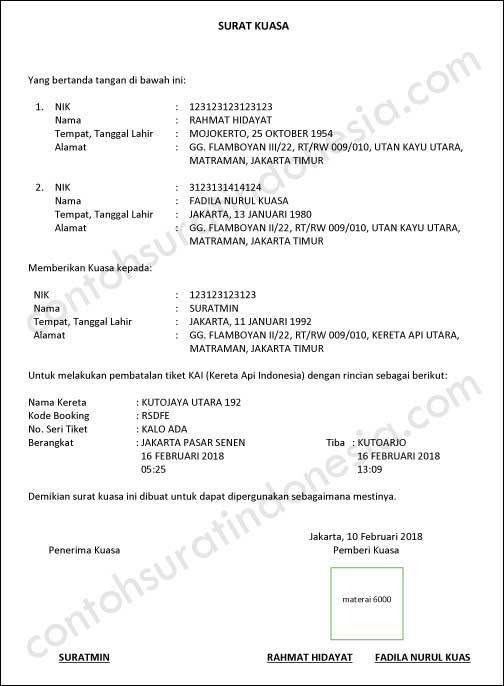 Contoh Surat Kuasa Pembatalan Tiket Kereta Api Indonesia
